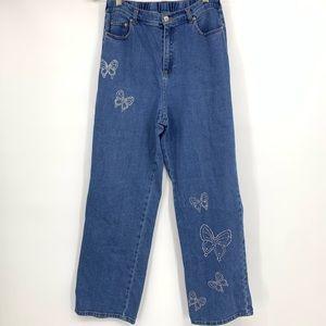 Quacker Factory jeans pants butterfly jewel high